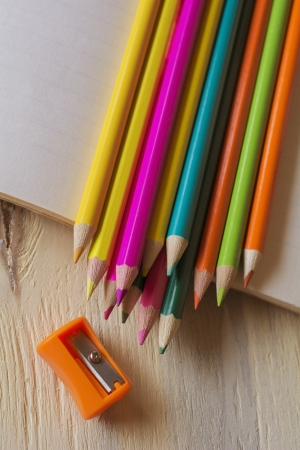 Abstract background of pencils.Selective focus. photo
