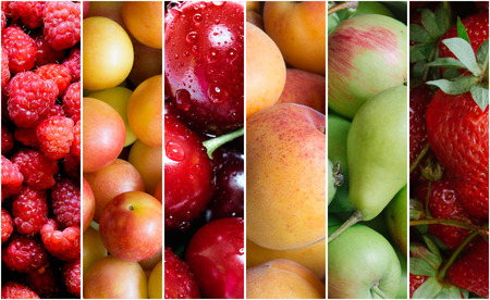 Healthy fruit food collage  photo