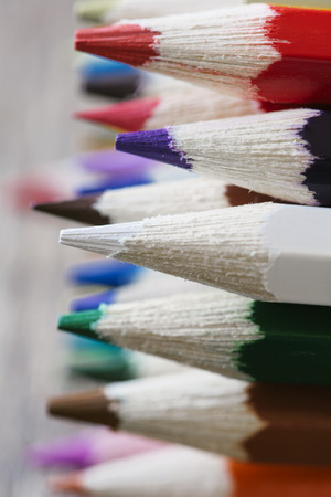 Abstract background of colorful pencils with extremely shallow dof photo