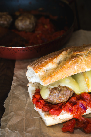 scamorza cheese: Simple meatball sub with melted scamorza cheese