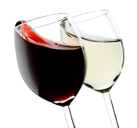 two object: Two glasses with red and white splashed wines Stock Photo