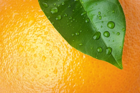 Close-up of orange peel and green leave Stock Photo