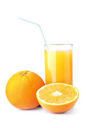 Ripe oranges and freshess juice on white photo
