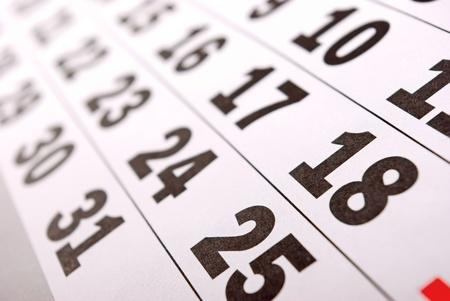 journal intime: Page du calendrier en gros plan