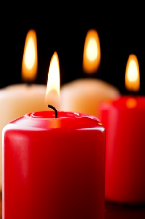 Closeup of burning candles