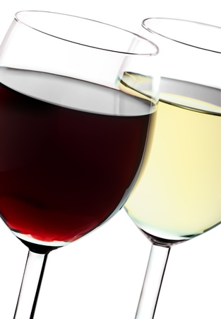 Two glasses closeup with red and white wines Stock Photo