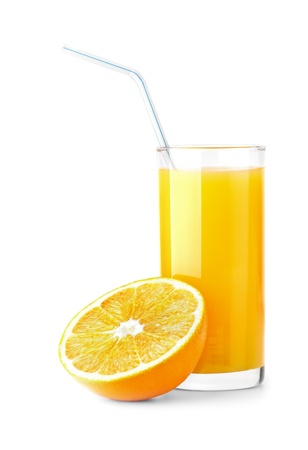 Ripe orange and freshess juice on white Stock Photo