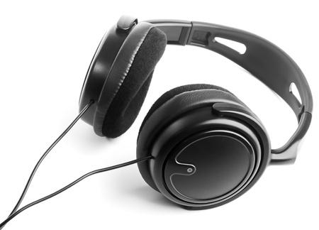 Black headphones on white background photo