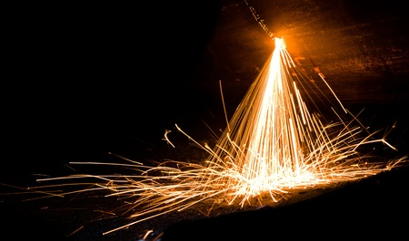 Sparks from welding of metal photo