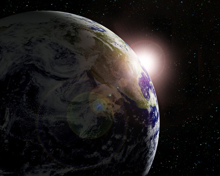 The planet Earth in sun beams photo