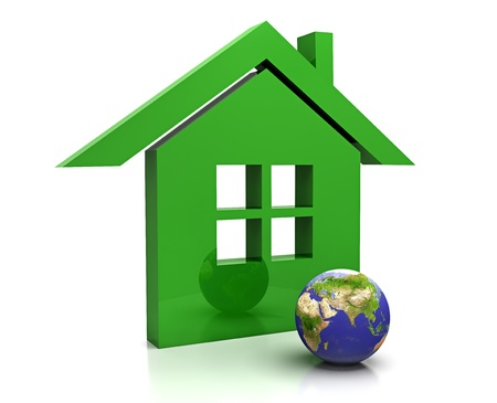 The planet Earth and green home photo