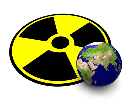 The planet Earth and sign of radiation Stock Photo - 9190255