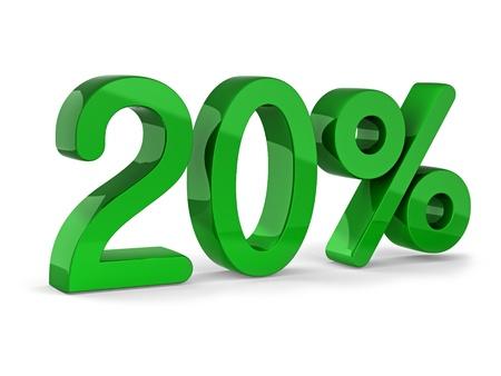 20: signo de 20 por ciento de la venta