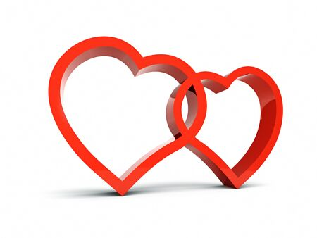 shiny hearts: Two symbols of loving hearts Stock Photo