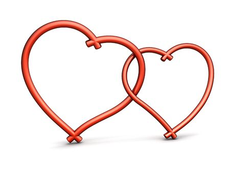two object: Two symbols of loving hearts Stock Photo