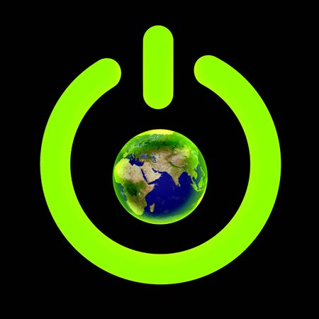 Off symbol and planet Earth  Stock Photo