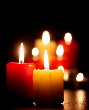 tea candles: Closeup of burning candles