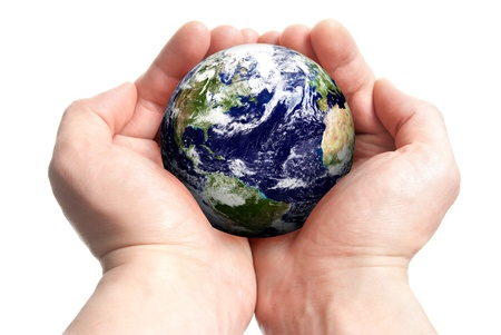 Isolated globe in mans hands  Stock Photo