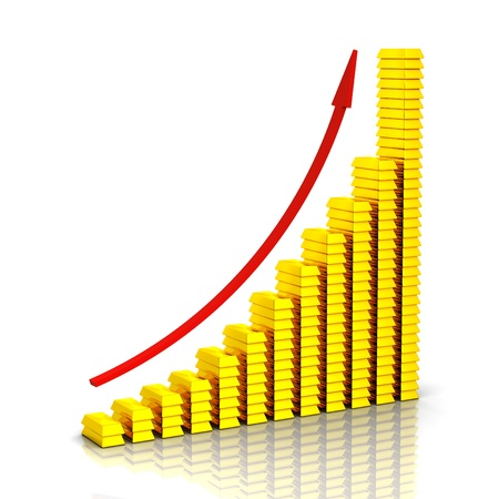 sales graph: Three dimensional golden bars and red arrow Stock Photo