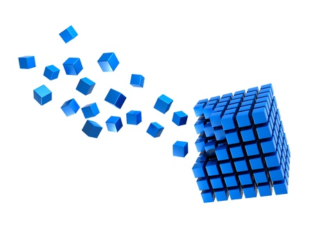 expanding: Three-dimension blue multitude of cubes