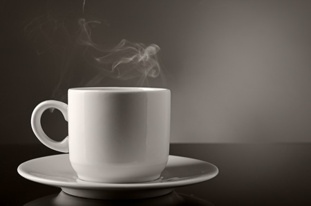 steamy: Cup of hot coffee or tea Stock Photo
