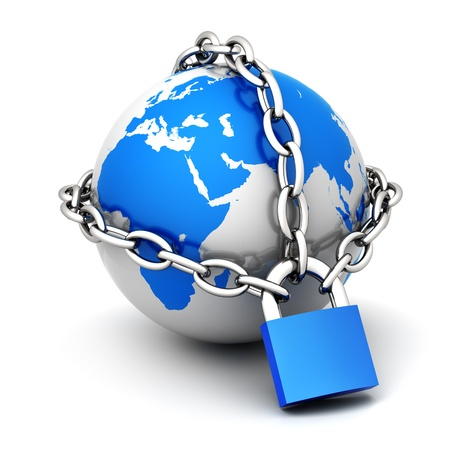 Earth globe close in chain and padlock Stock Photo