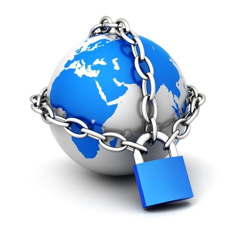 cadenas: Planeta tierra cerrar en cadena y candado Foto de archivo