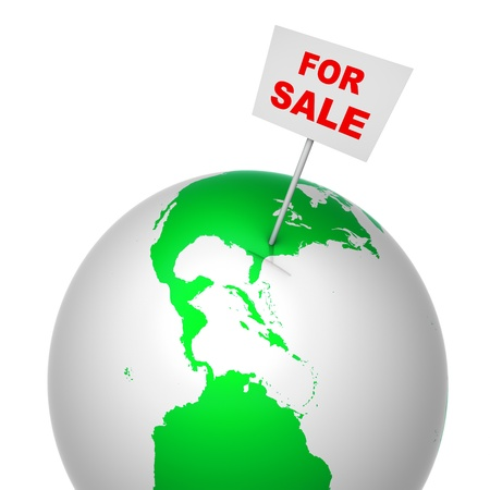 sold small: Notice for sale on globe Stock Photo