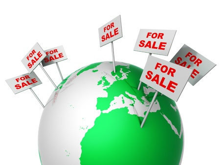 real world: Notice for sale on globe Stock Photo