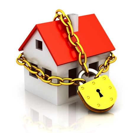 yellow house: House closed in chain and padlock Stock Photo