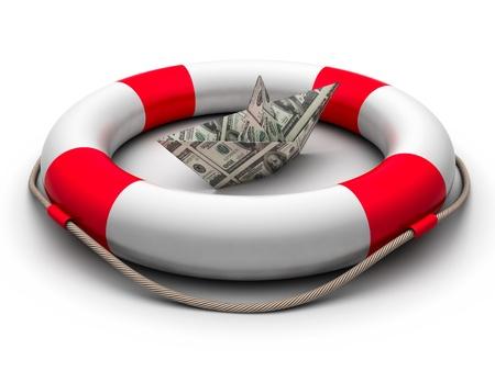 Three-dimension life buoy and money ship photo