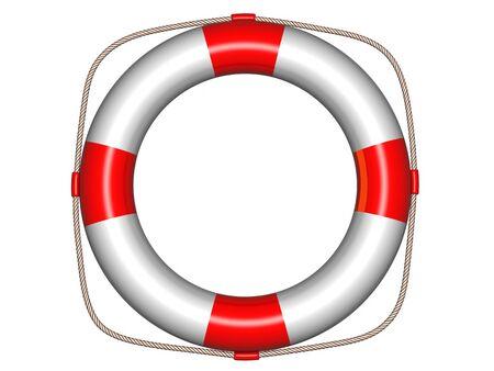 Three-dimension life buoy on white photo
