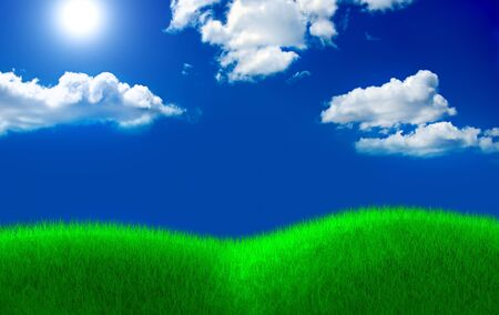 Green grass field and cloud sky with sun photo