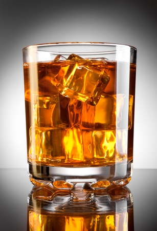 whisky glass: Whisky glass with ice cubes