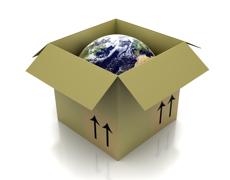 Globe in an open cardboard box Stock Photo - 11575552
