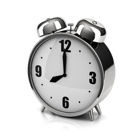chromium: Chromium alarm clock on a white backdrop Stock Photo