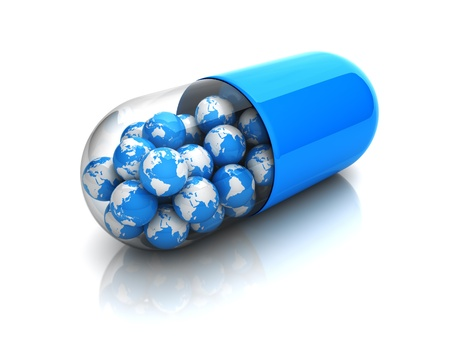 pill: Blue globes in drug capsule