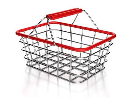 3d image of shopping basket on a white background