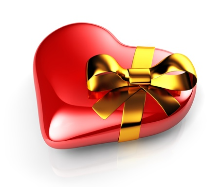 3d red heart with gold ribbon photo