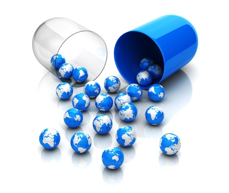 pill: Blue globes from drug capsule