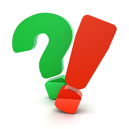 green issue: Question and exclamation marks on a white background Stock Photo