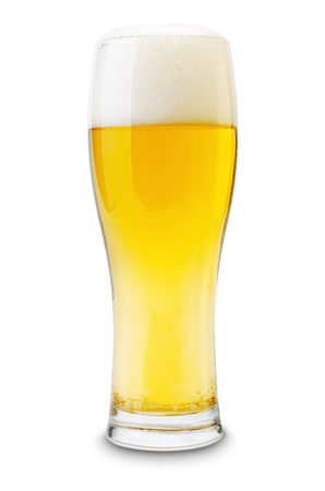 beerglass: Isolated glass of beer with shadow. Stock Photo