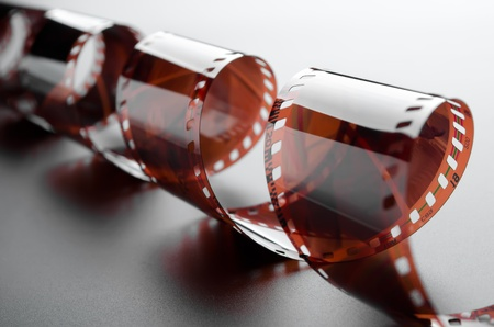 negatives: Close-up of a roll 35 mm photographic film