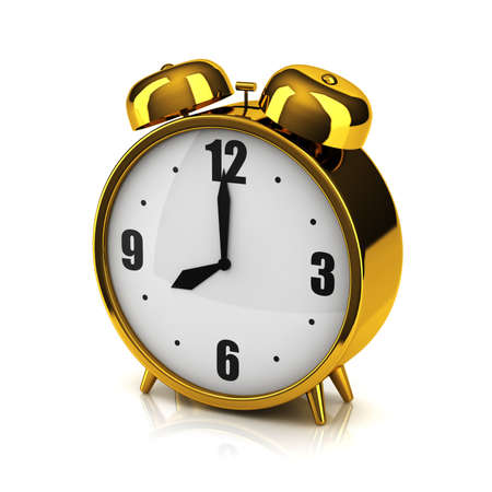 ringer: The overgilded alarm clock on a white backdrop