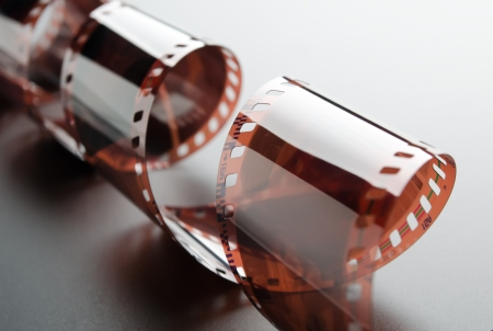 16mm: Close-up of a roll 35 mm photographic film