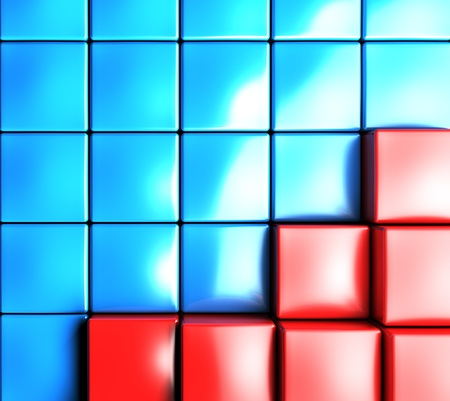 3d abstract background by colored cubes photo