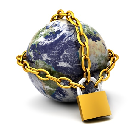 lock and chain: Earth globe close in chain and padlock Stock Photo