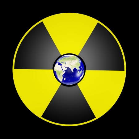 The planet Earth and sign of danger nuclear Stock Photo - 17542258