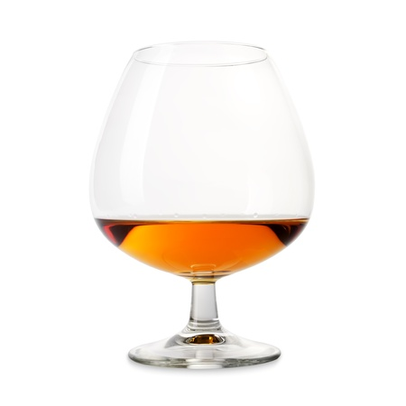 Isolated cognac wineglass on a white background