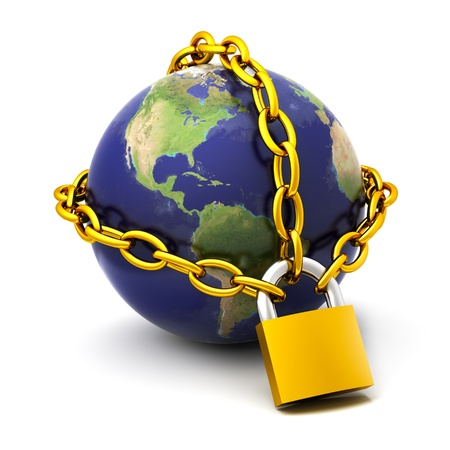 The globe chained on the lock.Elements of this image furnished  photo